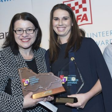 Victorian Young Achiever of the Year Aimee Marks with Minister Mikakos